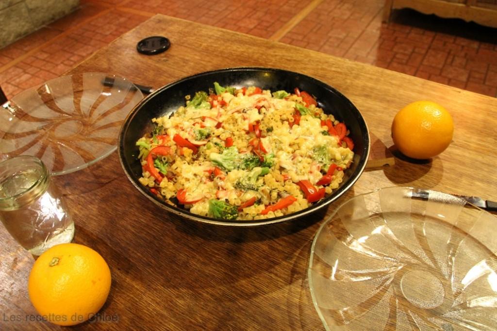 Coquillettes au thym et légumes