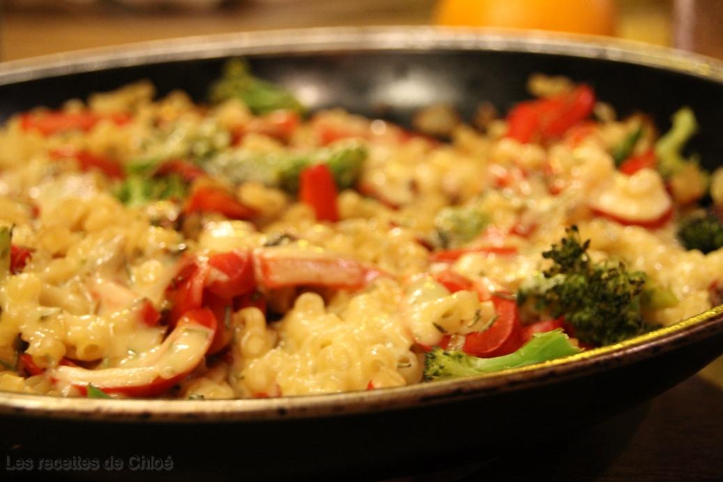 Coquillettes au thym et petits légumes gratinés