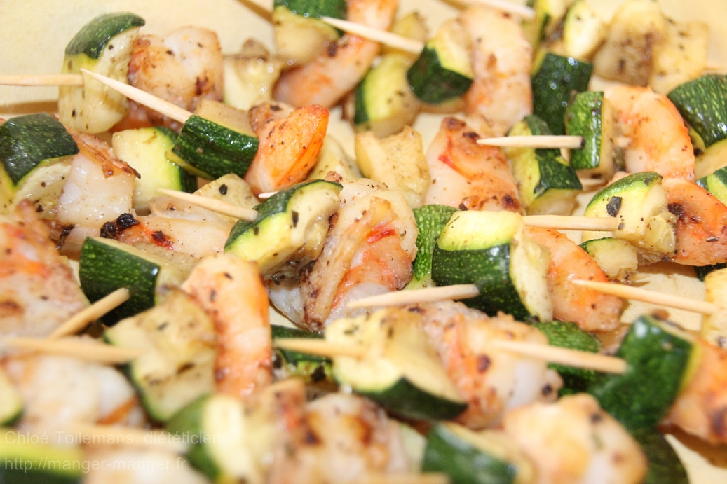 Dieteticienne Toulouse - Brochettes crevettes