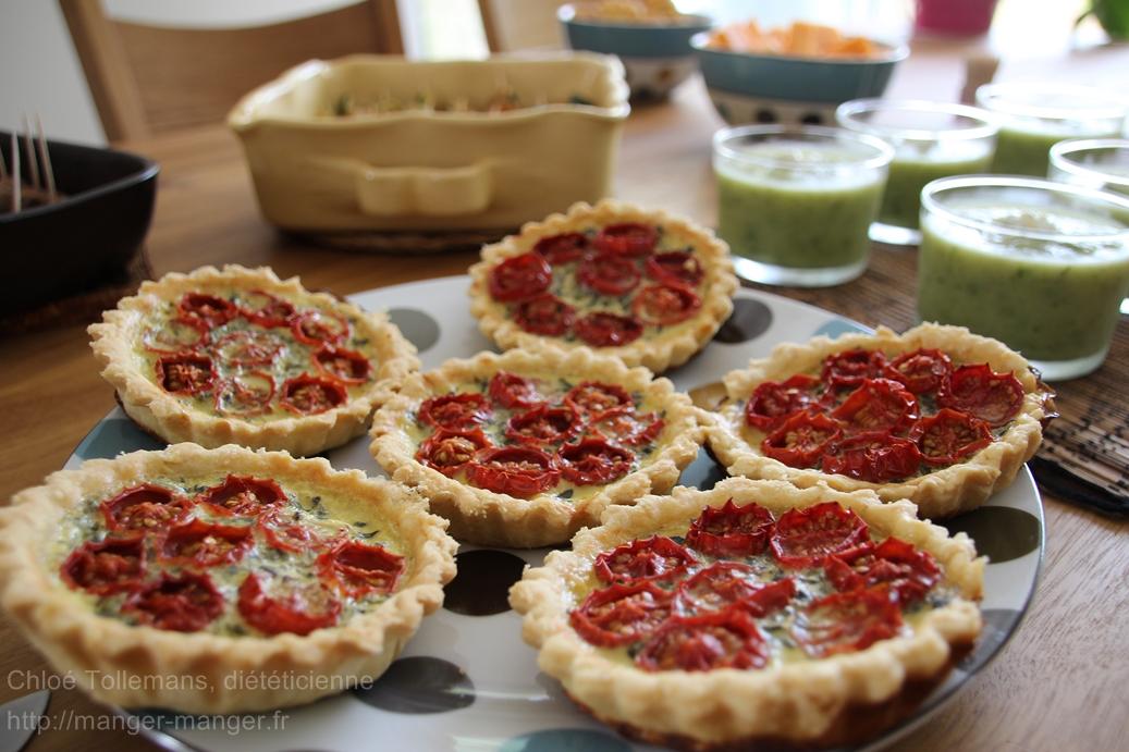 Dieteticienne Toulouse - Tartelettes pistou tomates confites
